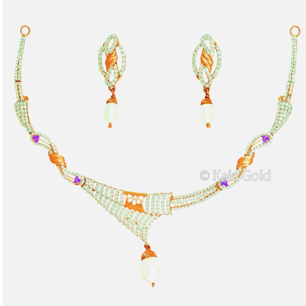 916 Gold CZ Diamond Necklace Set