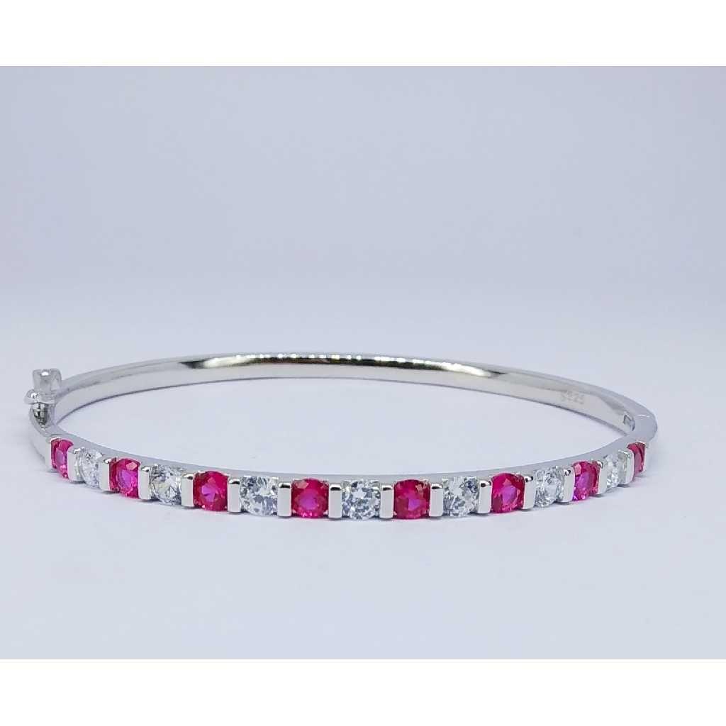 92.5 Sterling Silver Pink Stone Ladies Kada Bracelet