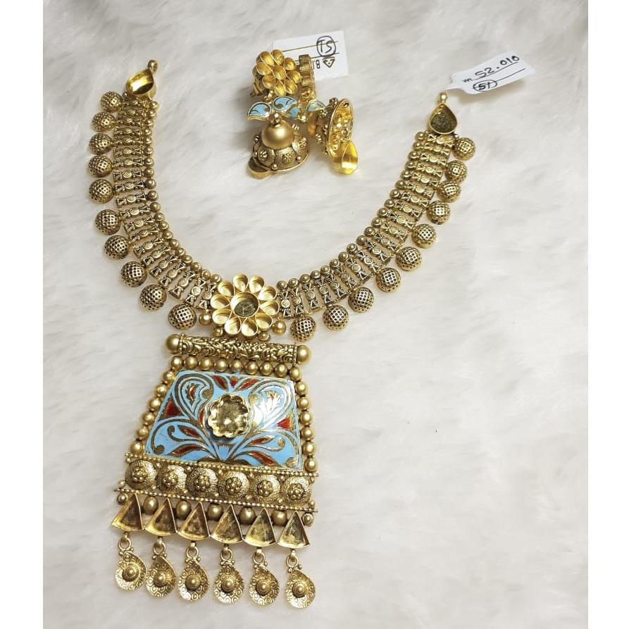 916 Gold Meenakari Khokha Necklace Set KG-N02