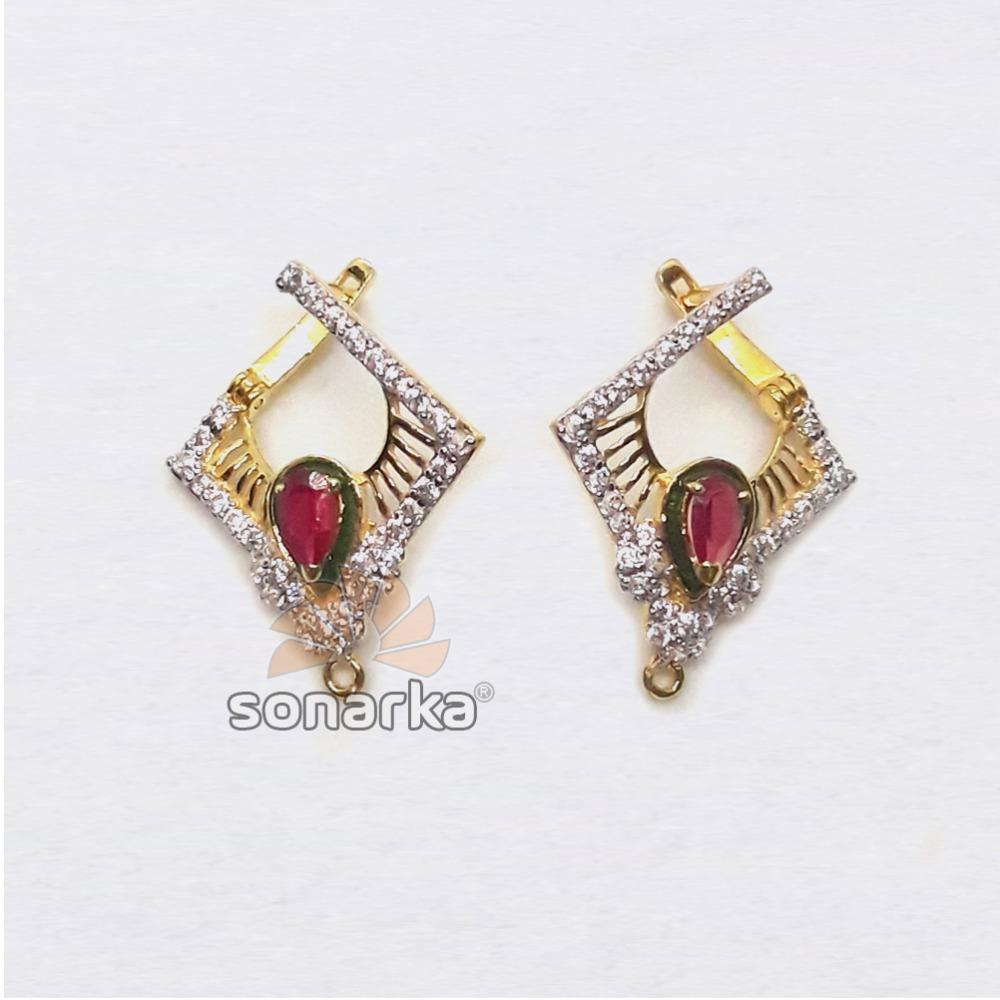 22KT Gold CZ Diamond Shape Hoop Earring