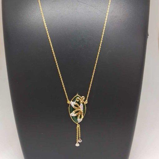 REAL DIAMOND BRANDED GOLD CHAIN PENDANT SET