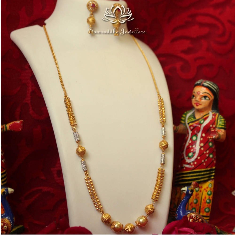 916 Gold Antique Polki Mala SJ - M002