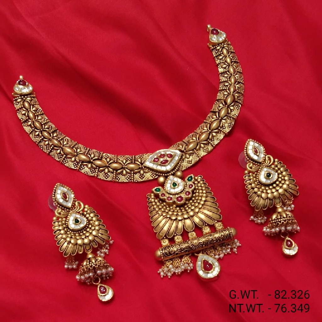 22Kt Yellow  Gold  Kundan  Morse Antique Necklace For  Women
