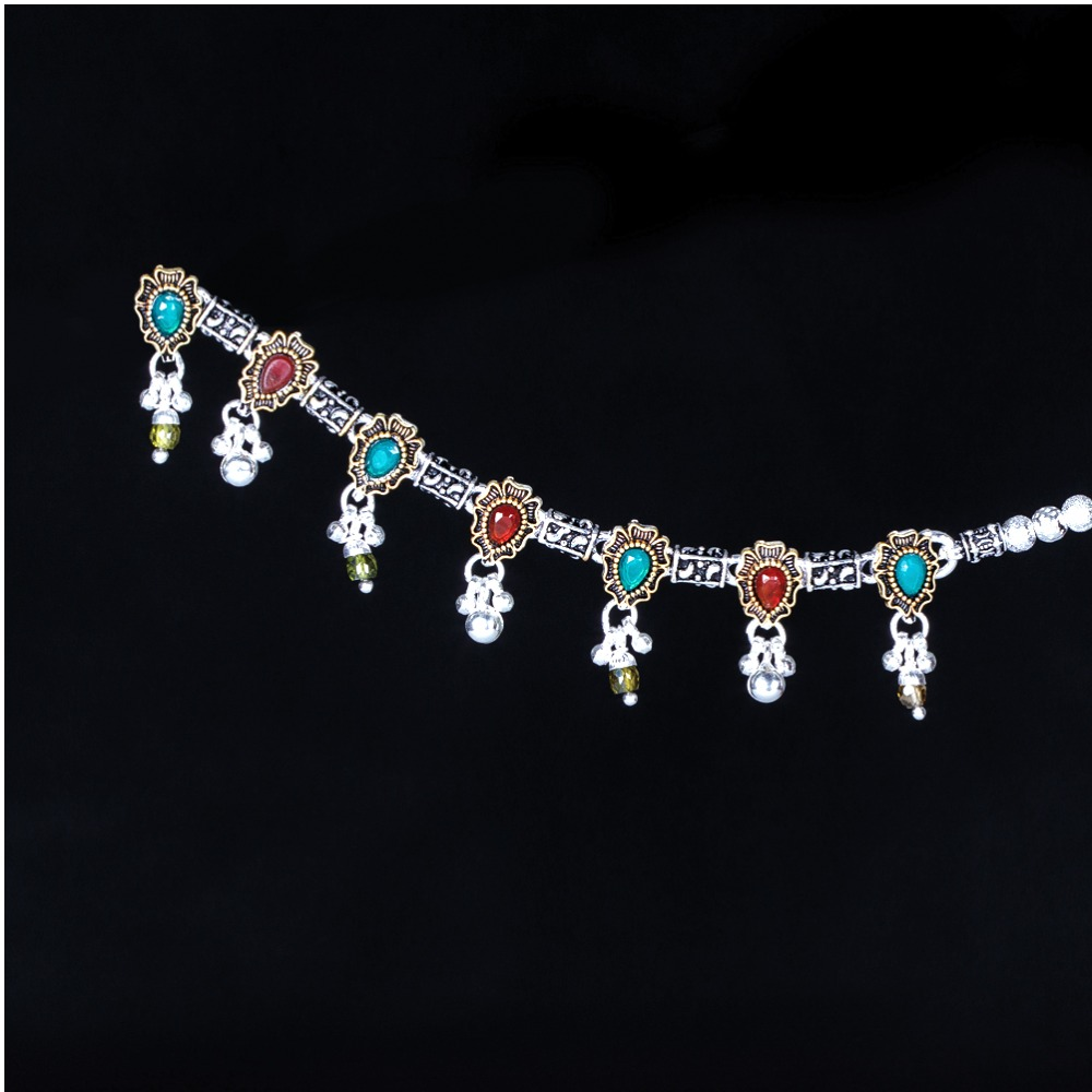 Silver Fancy Colourful Stone Payal