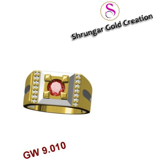 22KT Gold CZ Red Stone Gents Ring