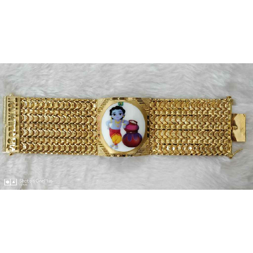 22KT Gold Religious Krishna Photo Bracelet