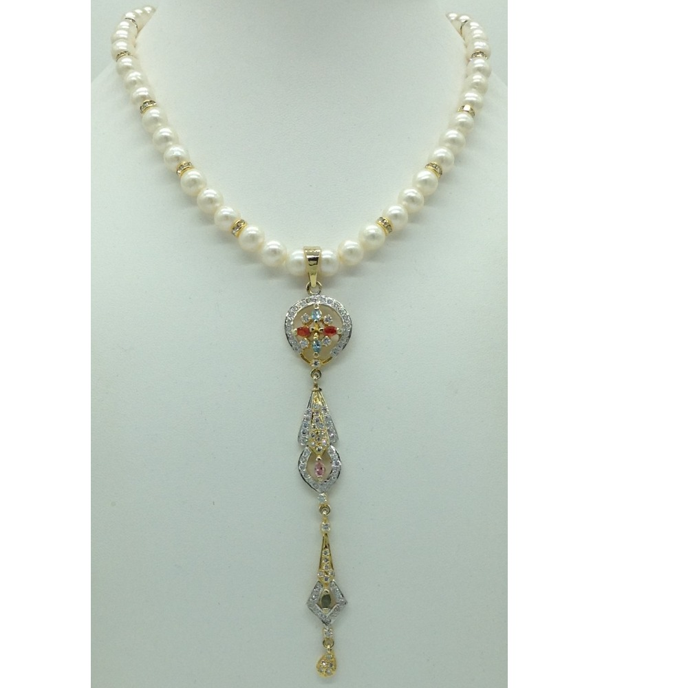 Multiclour CZ Long Pendent Set With Round Pearls Mala JPS0558