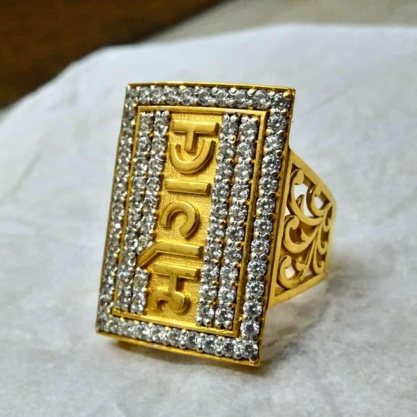 916 Gold Fancy Gent's God Named Ring