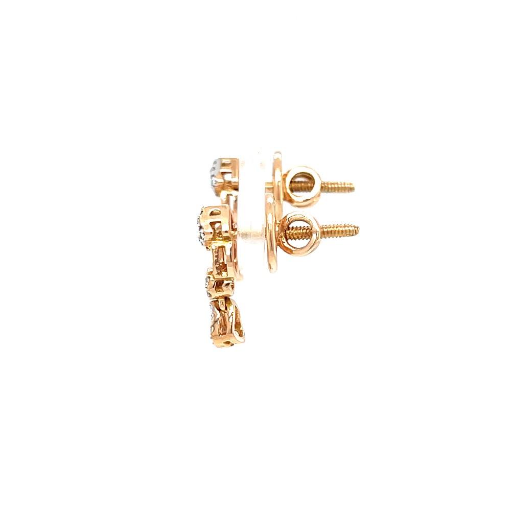 Delicate geometrical design diamond earrings in 18k rose gold 9top99