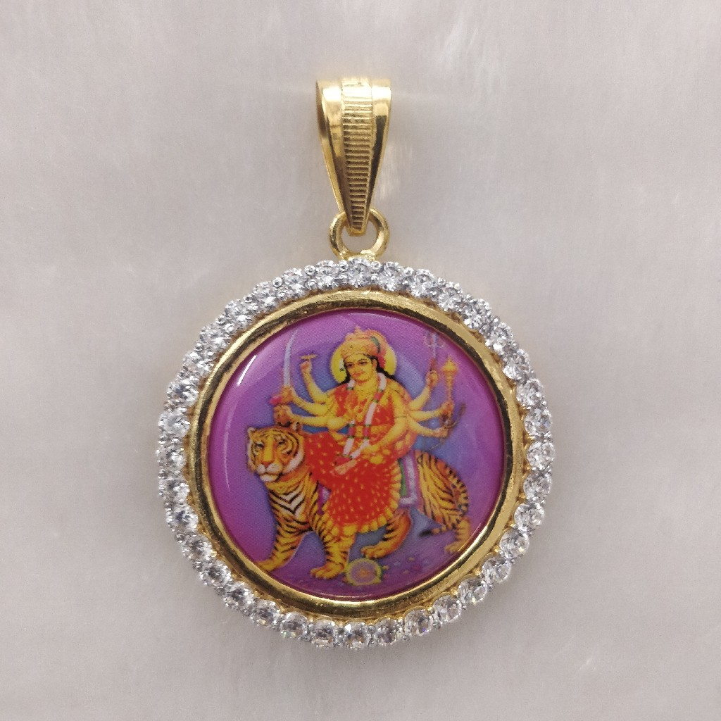 916 Gold Fancy Gent's Ambe Maa Photo Frame Pendant
