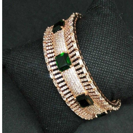 Rose polished green diamond 1 gram ladies bracelet
