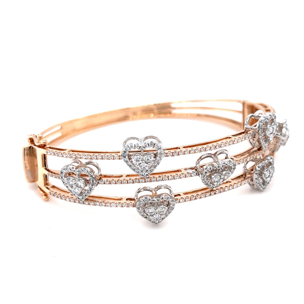 3 Lines with 7 Delicately moving Hearts Diamond Bracelet