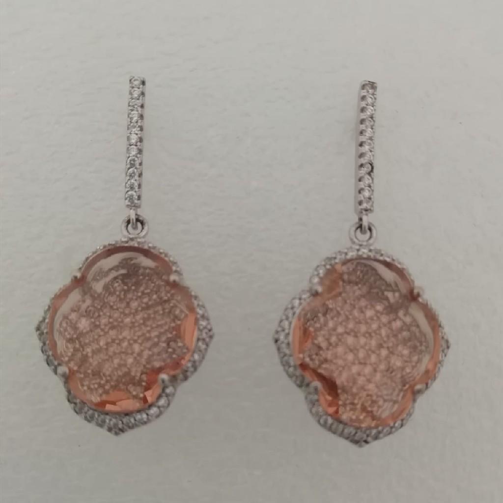 sterling silver diamond fancy earrings