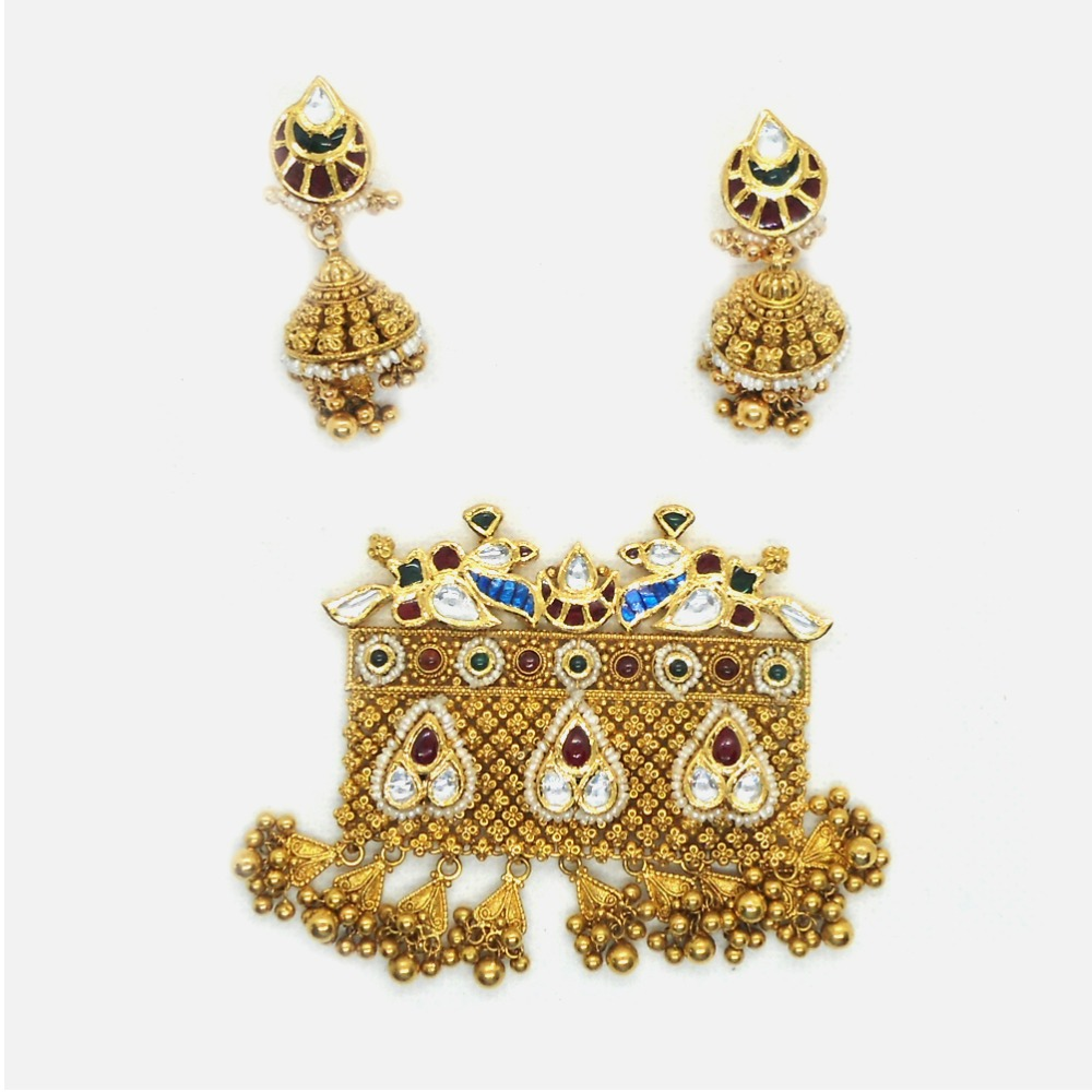 916 Gold Antique Bridal Pendant Set RHJ-6011