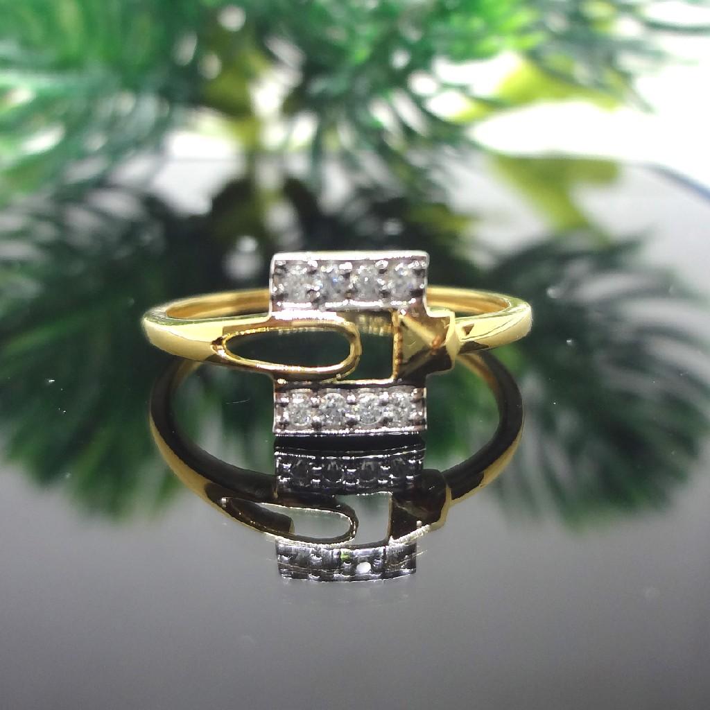 916 Gold Cz Diamond Ladies Square Ring