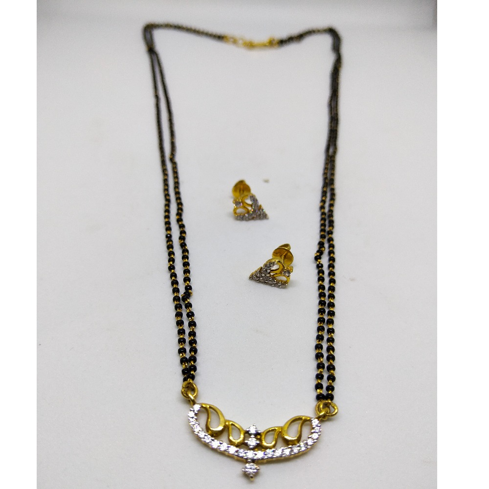 916 Two line mangalsutra with diamond pendent & earring