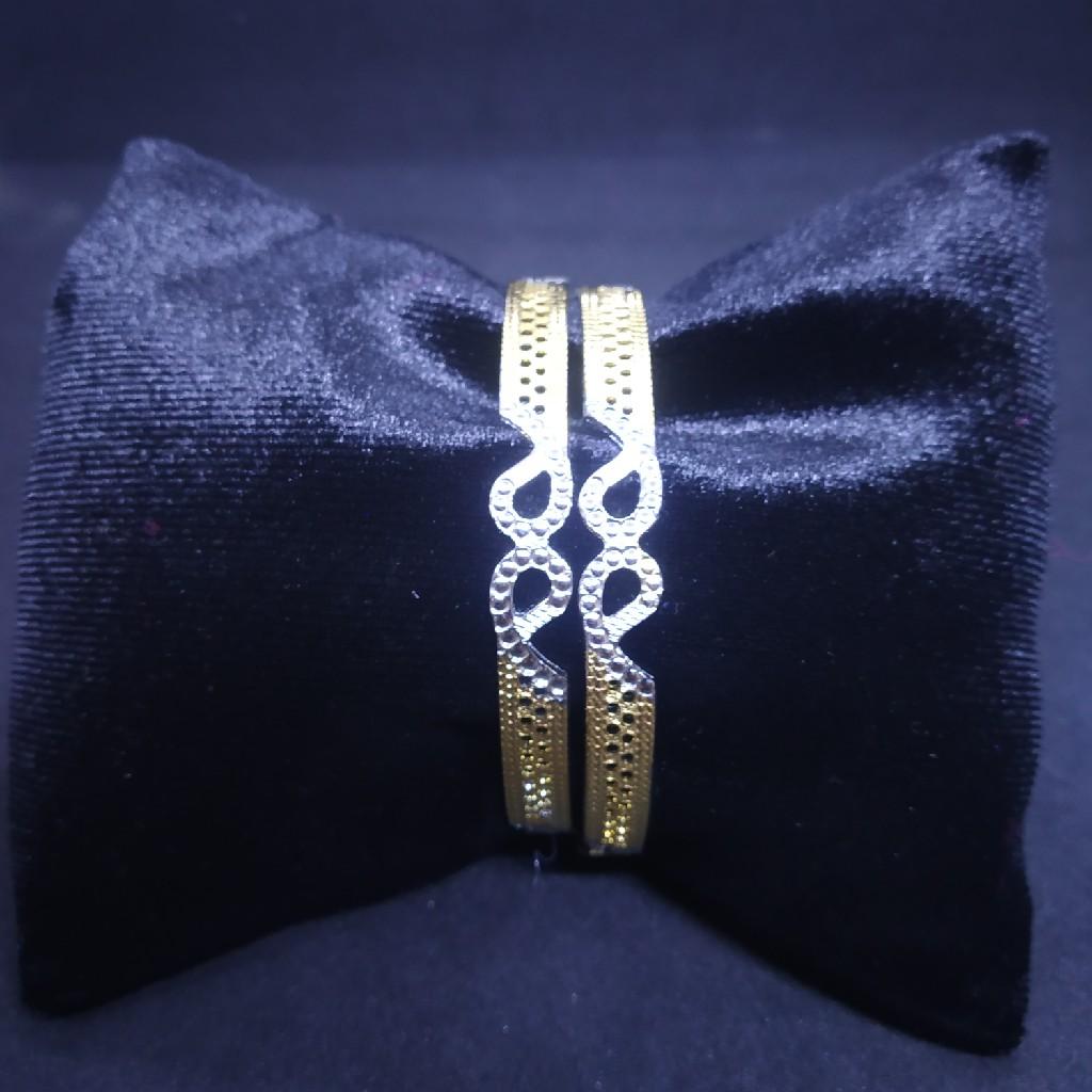 Cnc two(2) tone rodiyam silver gold bangle(kadli,kangan,patla) 09