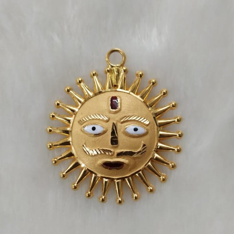 916 Gold Fancy Surya Pendant
