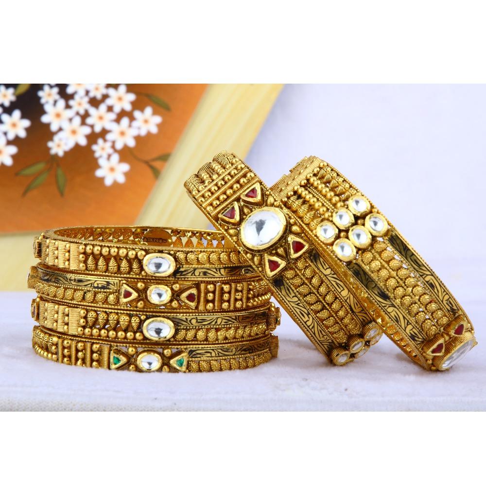 916 Gold Antique Bangles BGG - 0031