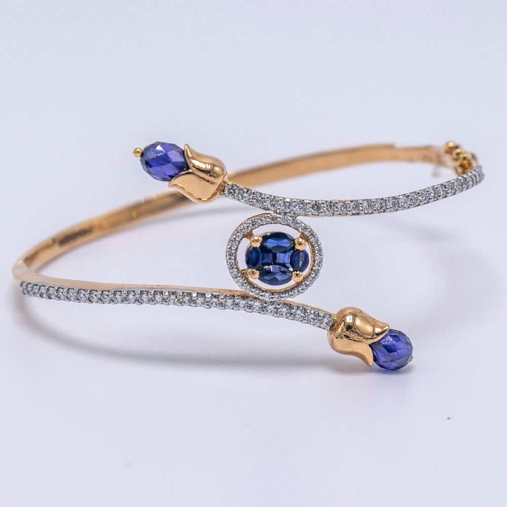 18K  gold round shaped blue diamond BRACELET  agj-lr-157