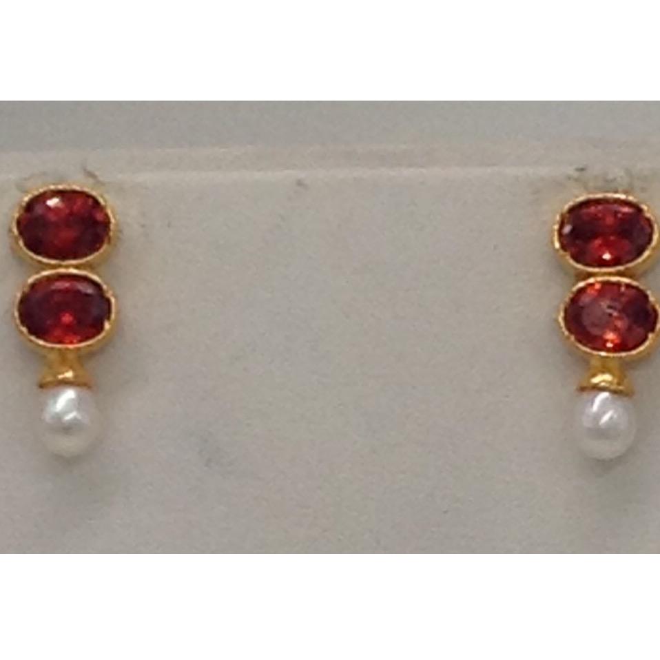 Orange CZ Stones And Pearls Drops Necklace Set JNC0009