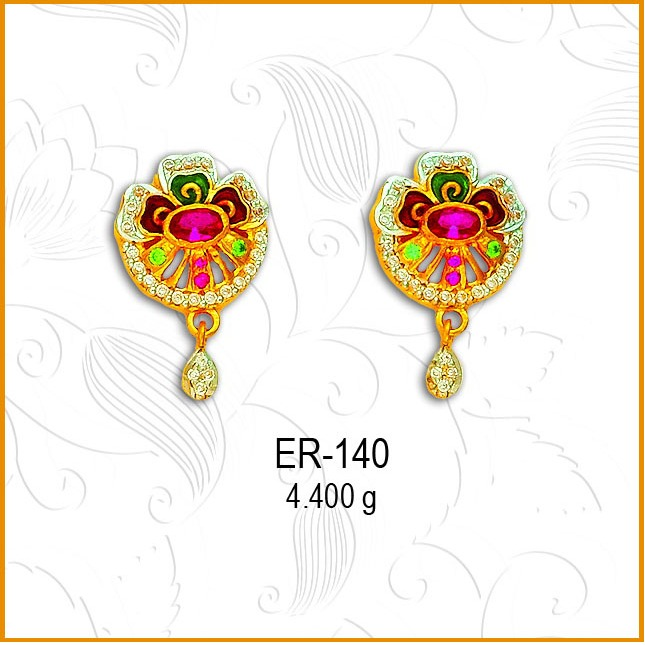 916 Gold CZ Fancy Colored Stone Earring ER-140
