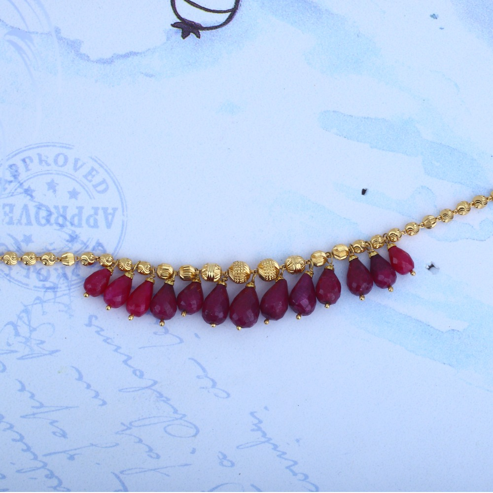 916 Gold Pink Ruby Jewellery Set BRG - 0039