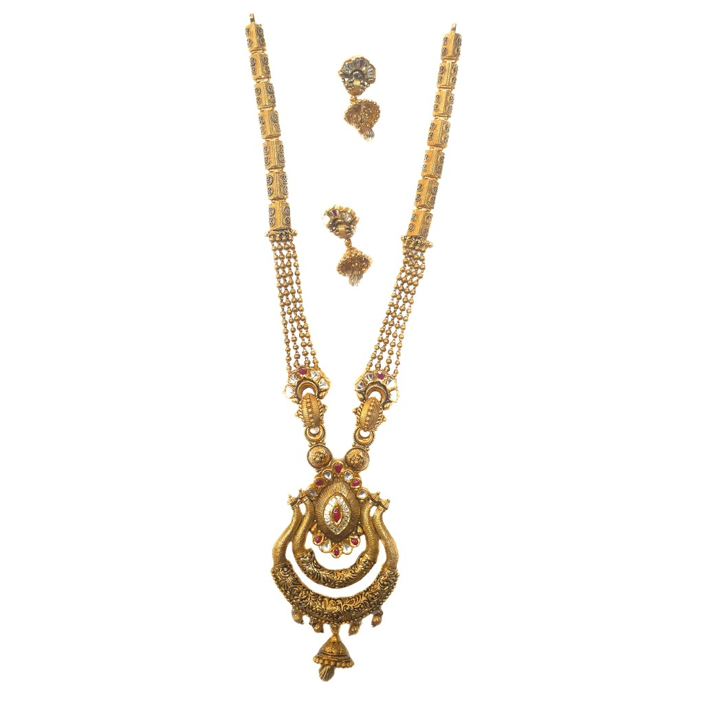 916 gold antique necklace set mga - gn026