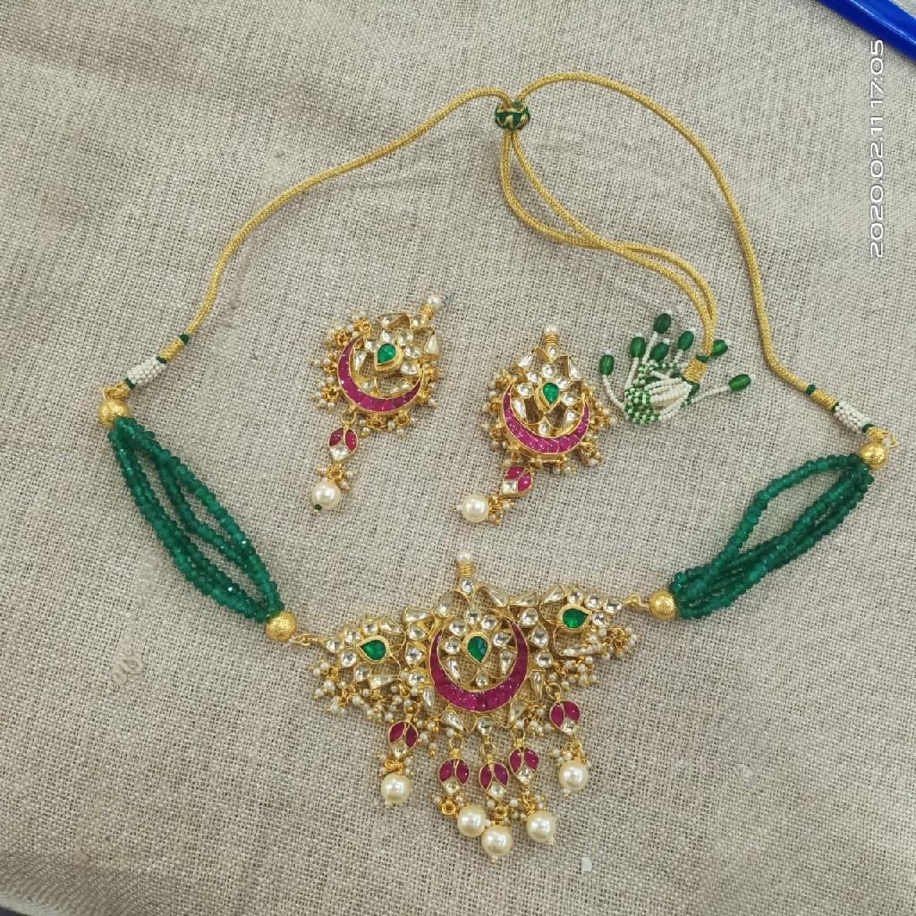 Green moti necklace set#chk004
