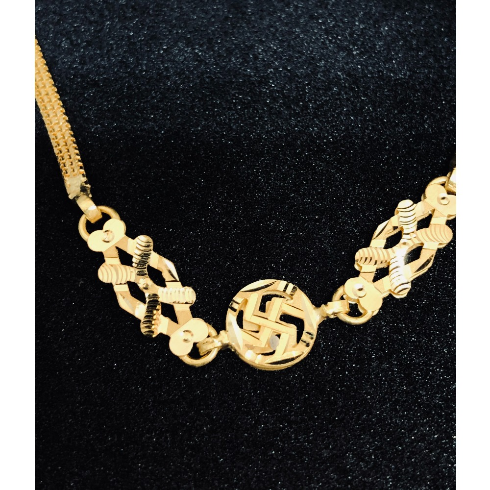 22kt, 916 Hm, gold machine cut ganesh bracelet for women JKB091