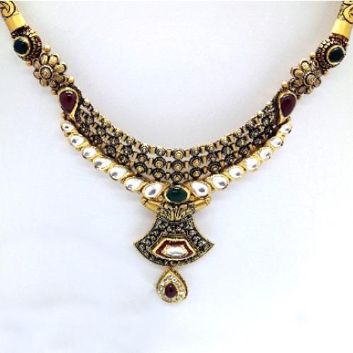916 Gold Antique Wedding Necklace Set CMJ-N003