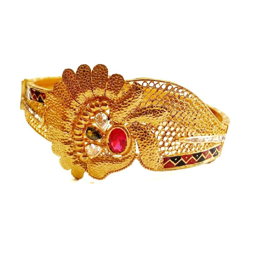 916 gold kalkatti designer kada bangles mga - gp08...