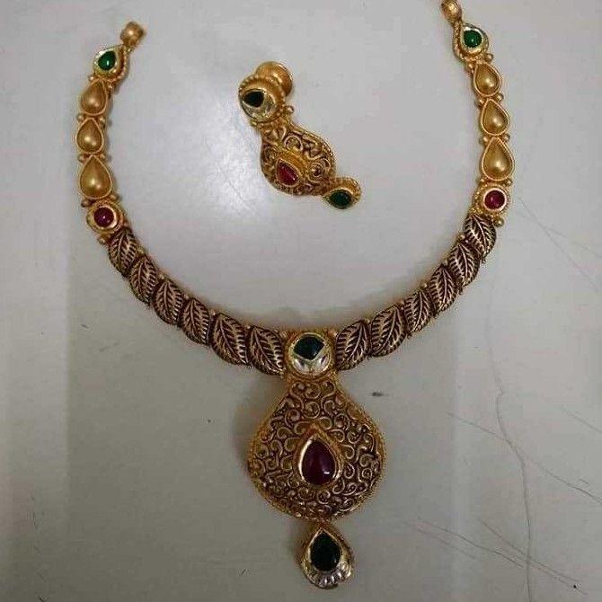 Antique Jadau Half Necklace Set