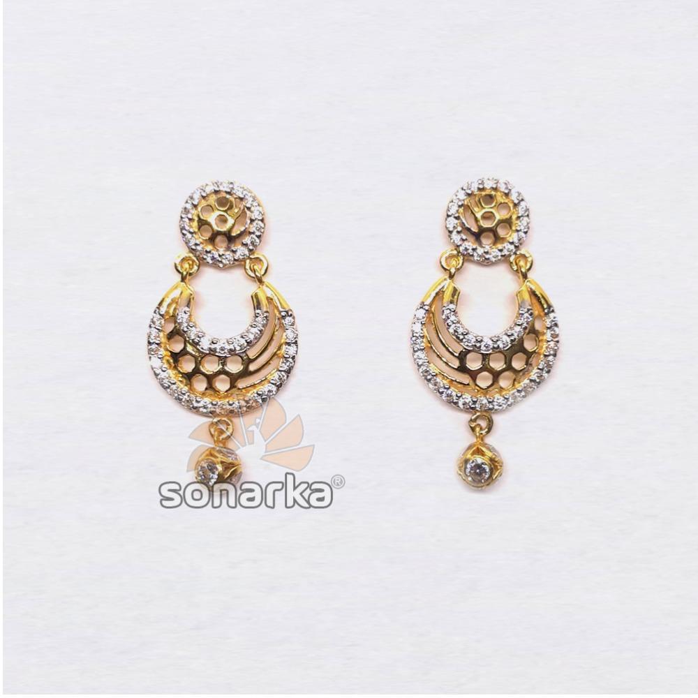 22KT Gold Antique CZ Diamond Beaded Earrings