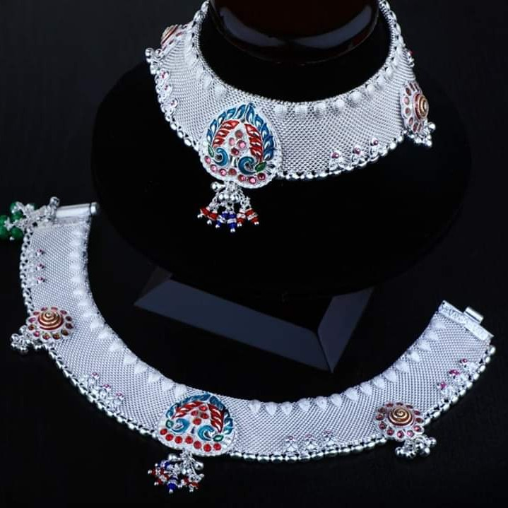 Silver Payal With Multi coloured Mina