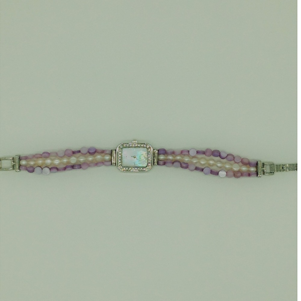 Freshwater ButtonPearls And PurpleSemi Beeds WatchJBG0216