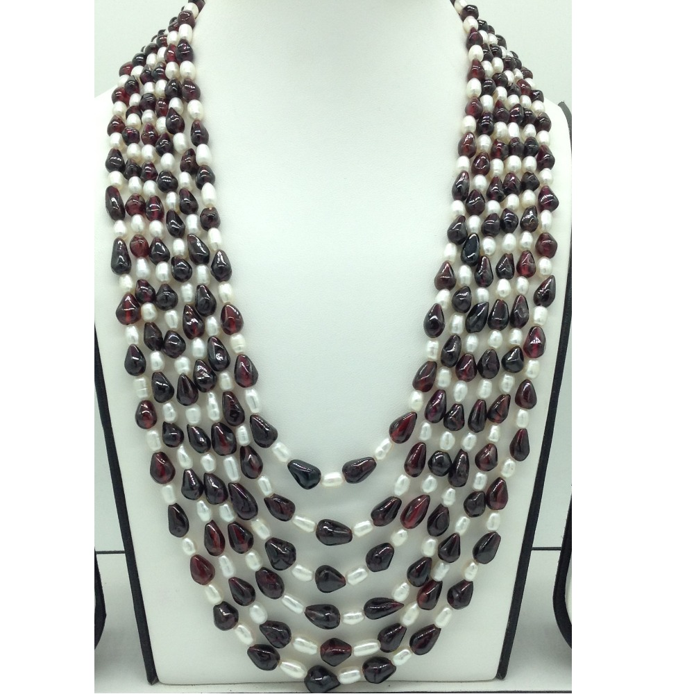Freshwater WhitePearls with Garnets6Layers Necklace JPM0391