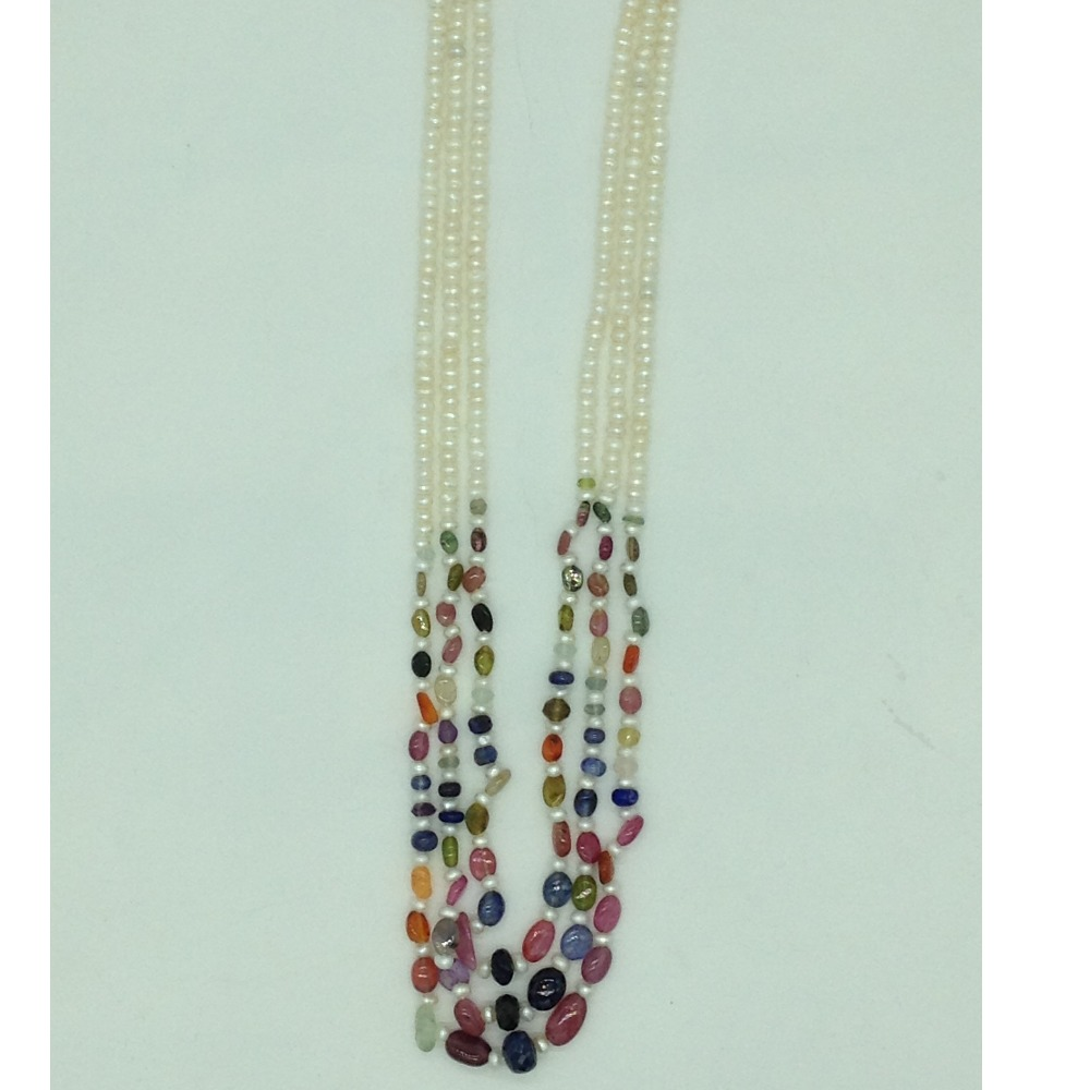 White FlatPearls with MultiColour Stones3Layers Necklace JPM0425