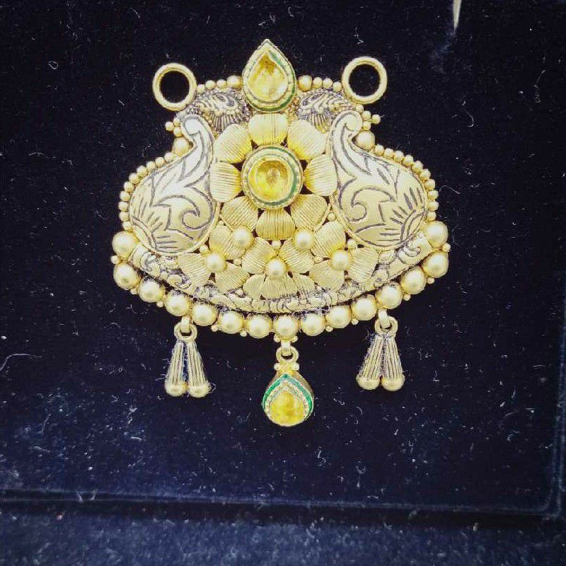 22KT Gold Antique Flower Design Mangalsutra Pendant
