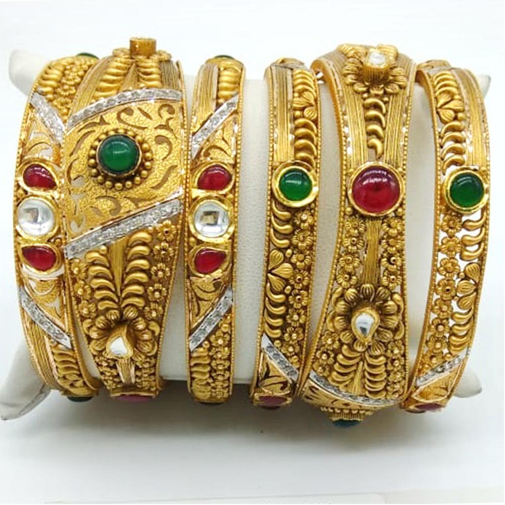 916 Gold Attractive Studded Kada
