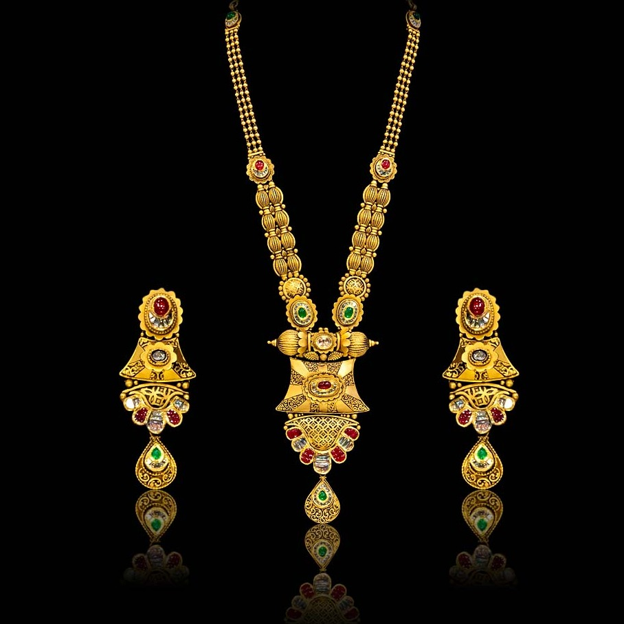 22KT Gold Antique Long Necklace Set
