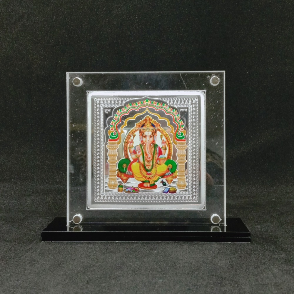 Pure Silver Designer Coin of Ganesha in Color Printing by puran