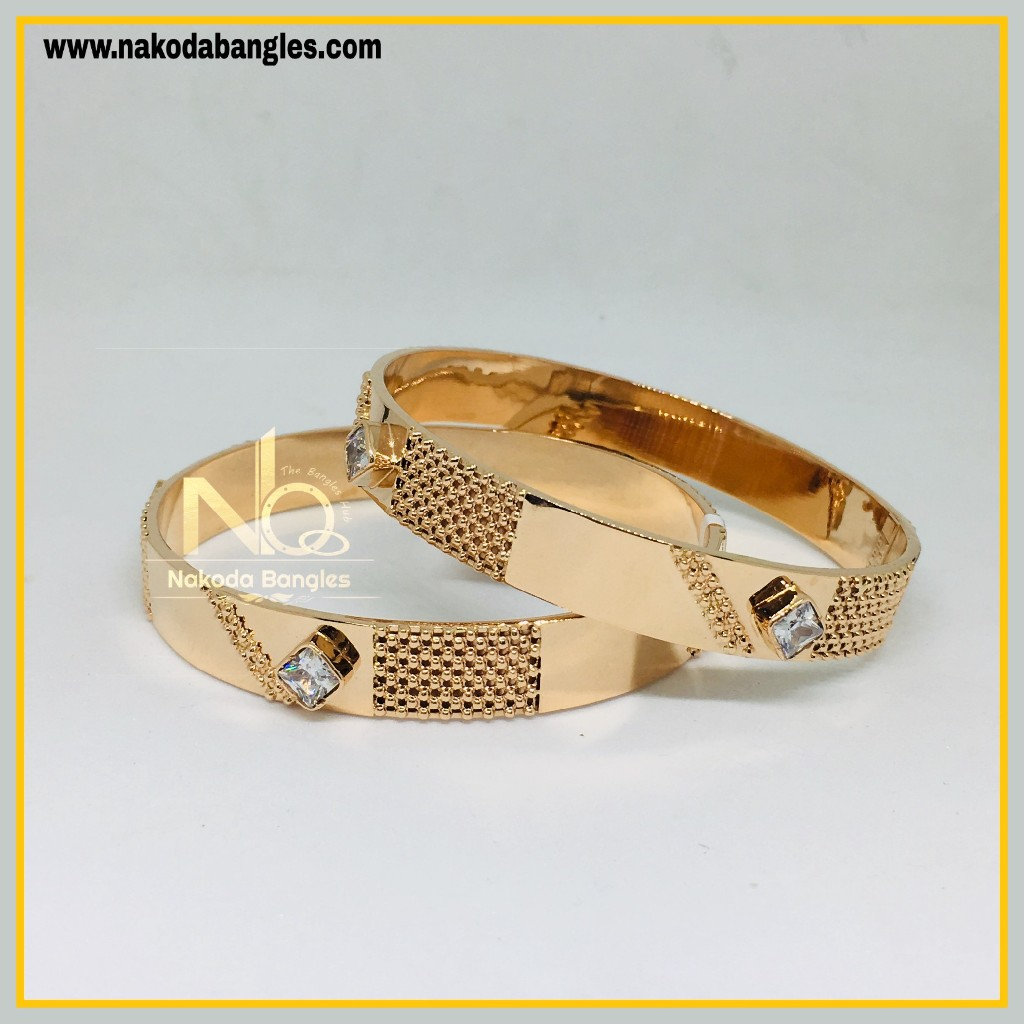 916 Gold Rose Gold Stone Fancy Bangles NB - 452
