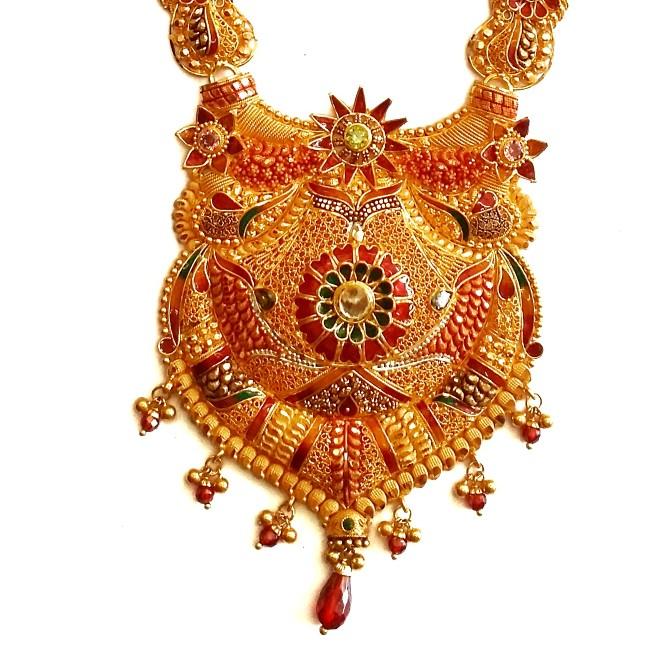 22k Gold Kalkatti Meenakari Flowers Necklace With Earrings MGA - GLS083