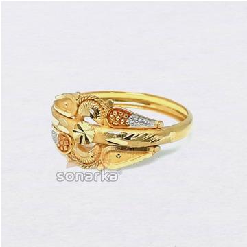 22ct Gold Ring Hollow Single Pipe Meenakari Design for Ladies