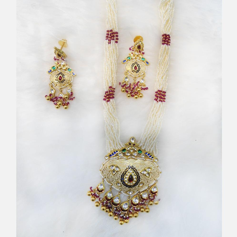 22KT Gold Antique Long Necklace Set RHJ-5579