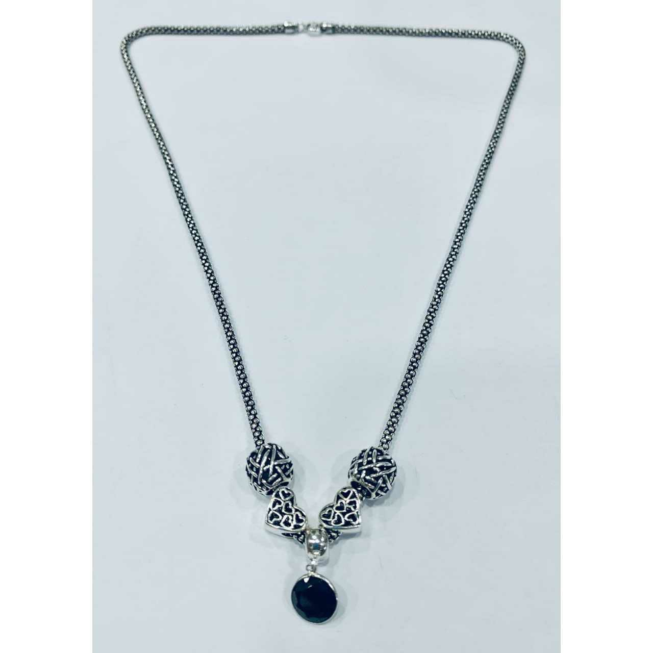92.5 sterling silver new oxodize patern pandent With Chain ms-3653