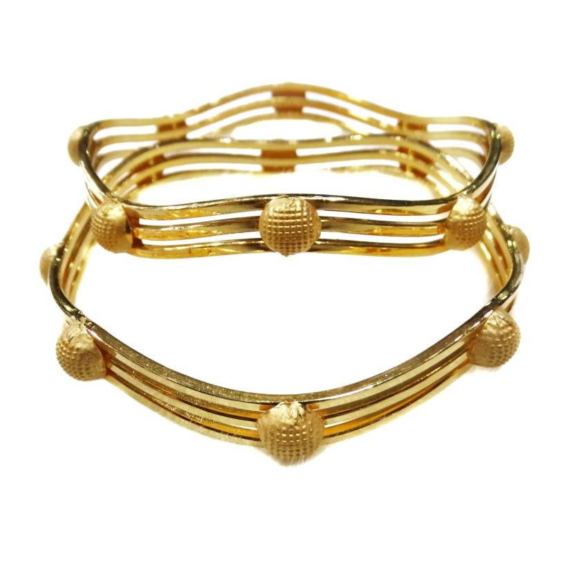 916 Plain Gold Modern Style Kadli Bangles MGA - GK059
