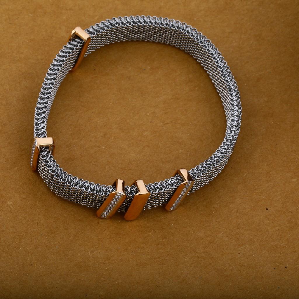 Leather Bracelet 18K Mens Rose Gold-MLB19