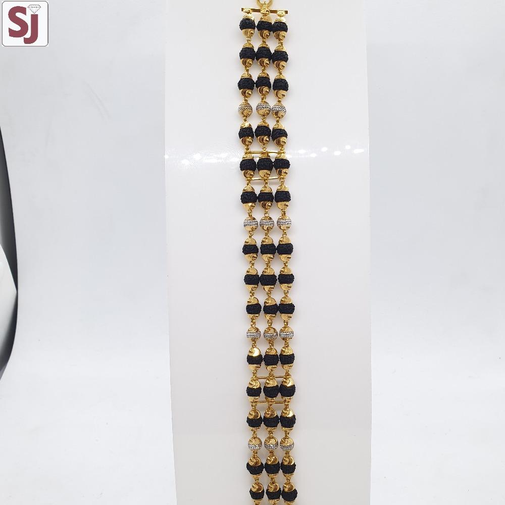3 Line Rudraksh Lucky Black RLG-0035 Gross Weight-24.700 Net Weight-21.440